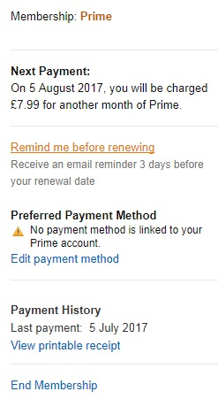 Amazon Prime account