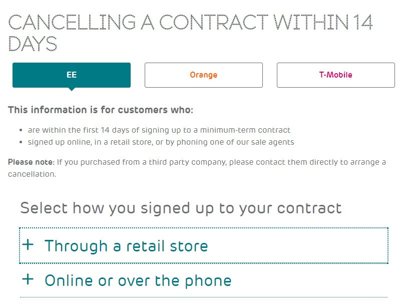 EE cancellation process