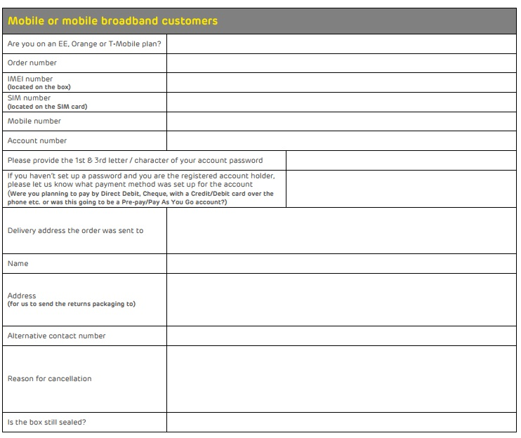 EE cancellation form